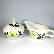 Vintage Joni Dixie Dogwood Covered Sugar Bowl and Creamer Hand Painted