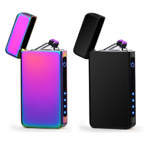 USB Electric Dual Arc Flameless Rechargeable Windproof Lighter + LED Indicator