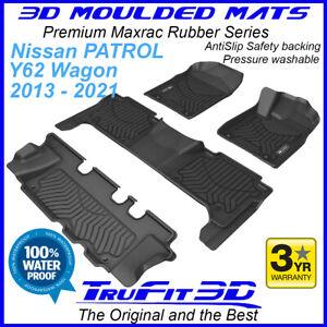 Fit Nissan Patrol Y62 2014 - 2021 3D Maxtrac Black Rubber Floor Mats  3 Rows