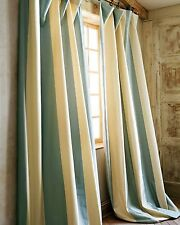 "Ivory Blue striped faux silk Lined window curtains each 52"" x 96""L ( pair)"