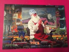 Leanin' Tree Christmas Card -  Santa & Model Trains Theme - Inventory #783