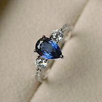 1.50 Ct Pear Cut Blue Sapphire & Diamond Engagement Ring Solid 14K White Gold GP