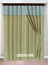 4-Pc Clover Trellis Floral Curtain Set Sage Blue Brown Valance Drape Sheer Liner