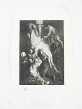 Lithographie originale descente de croix -  xxe signée Bayard