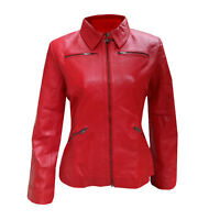Womens Emma Swan Red Biker leather Jacket | All Sizes