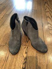 Paul Green Grey Suede Stack Heel Booties, Size 8.5 M/ UK 6