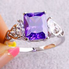 Elegant 925 Sterling Silver Purple Amethyst White Topaz Engagement Ring Size: 10