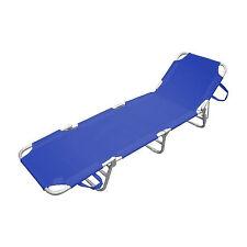 Lettino sdraio prendisole blu da spiaggia giardino struttura alluminio satinato