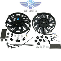 "2x 9"" inch Universal Slim Fan Push Pull Electric Radiator Cooling 12V Mount"