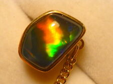 14ct Yellow Gold Mens Tie Tack Free Form Triplet Opal item 120477.