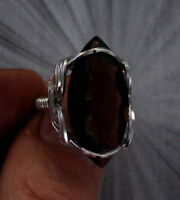 SMOKY QUARTZ GEMSTONE  RING STERLING SILVER SIZE 5 TO 15 WIRE WRAPPED