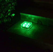 Solar 4 LED Crystal Glass Brick Deck Garden Lamp Road Square Yard Light Green