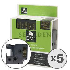 "5pk Gold on Black Label  Tape Fit for DYMO 53724 D1 24mm 1"""