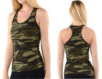 Women's CAMO Tank Top Racerback Sleeveless Stretch Fitted Army Green Camouflage