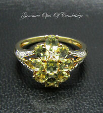 9ct Gold Citrine and Diamond Cluster Ring Size O