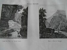 Comté de Nice Col de Tende Alpes Saorgio France Militaire Gravure Print 1833