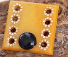 Vintage Amber Catalin Bakelite Rhinestone Brooch Pin Costume Jewellery Retro
