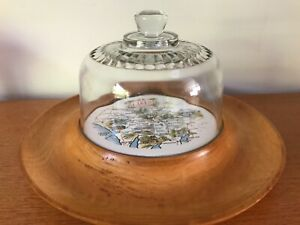 TIL INSET WOODEN SERVING PLATE WITH GLASS CHEESE DOME - VINTAGE KITSCH - VGC