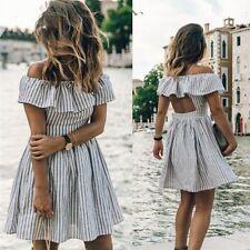Women's Summer Casual Off Shoulder Evening Party Dress Beach Mini Dress