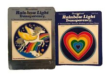 Vintage Illuminations Rainbow Pegasus & Heart Sticker Window Decal 2 Pack 1981