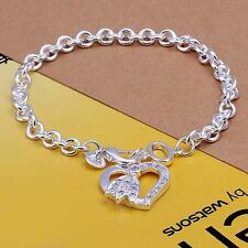 Classic 925 Stamped Sterling Silver Filled SF Solid Heart CZ Bracelet BL-A279