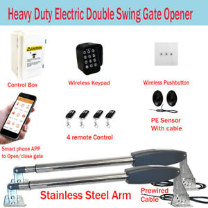Electric Double Swing Farm Gate Opener Automatic Motor Keypad Phone App Remote