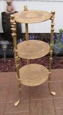 Antique VTG Hollywood Regency 3 Tier Brass Boy & Claw Foot Plant Stand Table