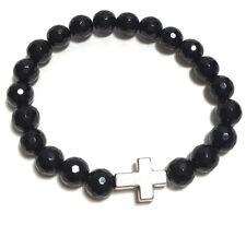Black Agate Shamballa Jewelry Bracelet Silver Color Cross 6.5  inch.