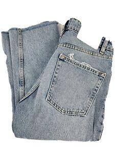 Zara Jeans Light Wash Button Front High Waist Raw Hem Denim Womens Size 2