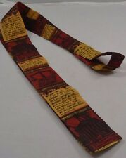 Rooster Skinny Square Short 1950s Tie Themis Red Gold Lawyer Law Court Mod