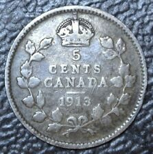 OLD CANADIAN COIN 1913 - 5 CENTS - .925 SILVER - George V - Nice Tone