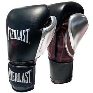 Everlast 16oz Powerlock Training Boxing Gloves in Black/Silver