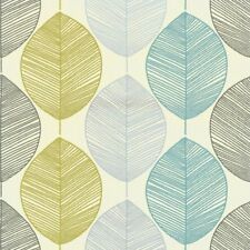 Arthouse Retro Scandi Leaf Designer Motif Wallpaper Teal Green 408207