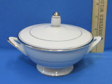 Sango Dion Sugar Bowl China Pottery Porcelain White Silvertone Edging Japan