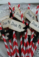 RETRO PAPER STRAWS WITH  DRINK ME TAGS-Birthday-Wedding-Garden Party-Red & White