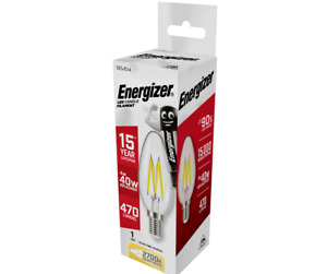 Energizer LED Clear Filament Candle - 4w (=40w) E27 Extra Warm White 2700K
