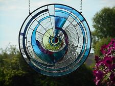 Large Round Antique Hand Blown Stained Glass Handmade Artist Signed Window Panel