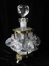 Vintage Lead Crystal Decanter Brass Footed Shot Glasses Set Barware Liquor