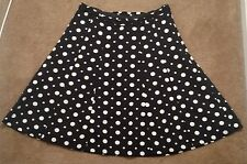 H and M Womens A Line Skirt Belted Waist Black White Polka Dots Size 8 Career