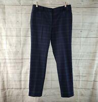 White House Black Market Womens The Slim Ankle Pants Sz 6 Blue Plaid