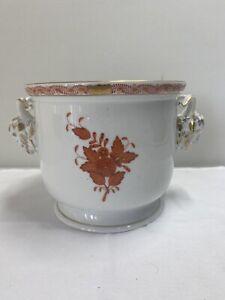 HEREND Bouquet Rust Cachepot Centerpiece W/ Goat Handles