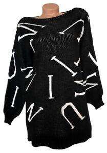 ITALY Mode Damen Pullover Buchstaben schwarz GR. M 36 38 40 42 NEU - IT101