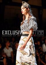 Sicily dew shoulder stripe high waist coat rhinestone buckle + printing skirt