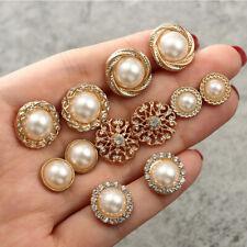 903088021237 6 Pares de Perlas de Cristal Aretes Conjunto Flor Zarcillos De Moda Regalo