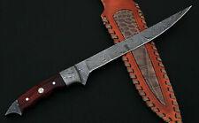 CUSTOM HANDMADE DAMASCUS STEEL/FILET KNIFE WITH LEATHER SHEATH