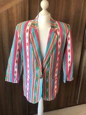 Vintage Aztec 80s Women's Blazer Jacket 100% Cotton Shoulder Pads Size 10 12