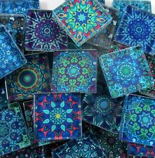 Glass Mosaic Tiles - Blue Moroccan Medallions Mandela Blues 1 Inch Squares Tiles