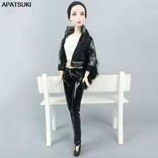 """1Set Fashion Outfits For 11.5"""" Doll Clothes Black Leather Coat Pants Short Top"""