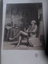 Antique 1904 Reproduction Etching L'AMATEUR from a watercolour by H Daumier