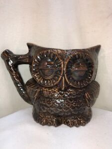 Vtg 1998 Ceramic Art Brown Wise Owl Double Sided Pitcher Branch Like Handle